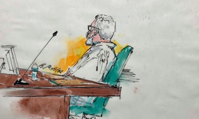 Tahawwur Rana in a courtroom artist sketch, during an extradition hearing in federal US court in Los Angeles, Calif., on June 24, 2021. (Bill Robles for AP)