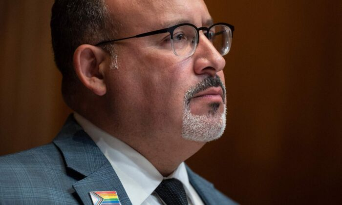 Education Secretary Miguel Cardona testifies before the Labor, Health and Human Services, Education, and Related Agencies Subcommittee on June 16, 2021. (Jim Watson/AFP via Getty Images)
