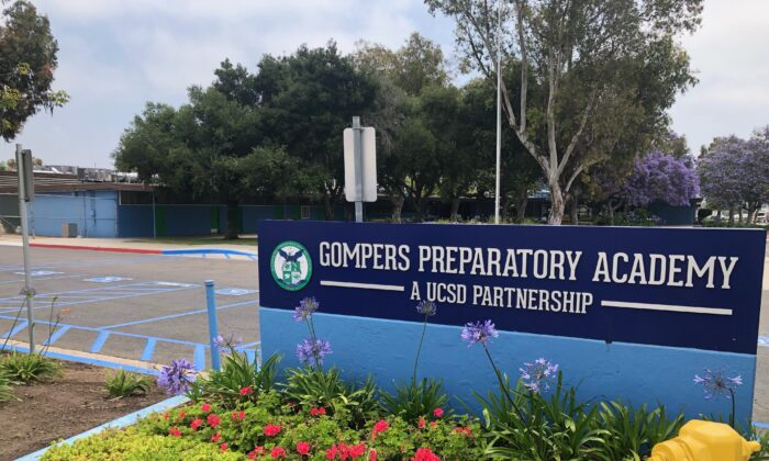 The school sign at Gompers Preparatory Academy in the southeast San Diego neighborhood of Chollas View. (Courtesy of Kristie Chiscano)