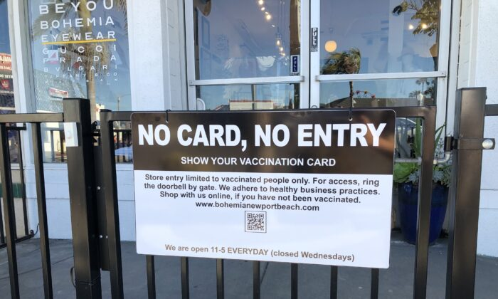 Deborah Nguyen, owner of Bohemia in Newport Beach, began requiring shoppers to show proof of vaccination at her shopmore than a month ago.(Vanessa Serna/The Epoch Times)