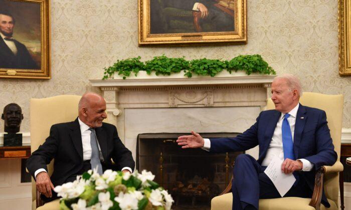 President of Afghanistan Ashraf Ghani meets with U.S. President Joe Biden in Washington, on June 25, 2021. (Nicholas Kamm/AFP via Getty Images)
