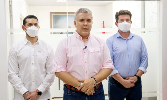 Colombia's President Ivan Duque gives a statement after an attack suffered by the helicopter he was travelling on, according to authorities, in Cucuta, Colombia, on June 25, 2021. (Colombia Presidency/Handout via Reuters)