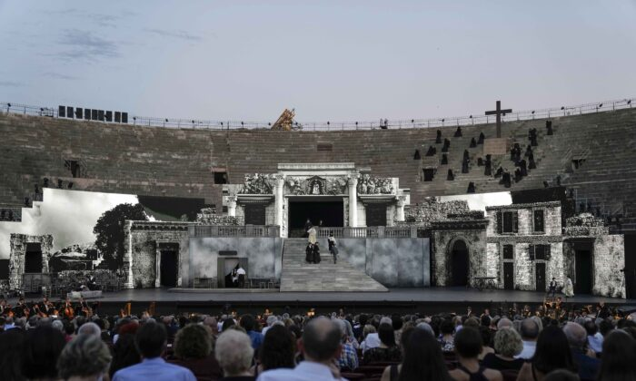 """A view of the stage during """"Cavalleria rusticana"""" lyric opera, at the Arena di Verona theatre, in Verona, Italy, on June 25, 2021. (Luca Bruno/AP Photo)"""