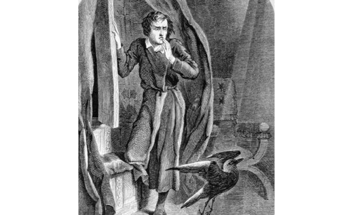 "An illustration by John Tenniel for Edgar Allan Poe's ""The Raven."" (Public domain)"