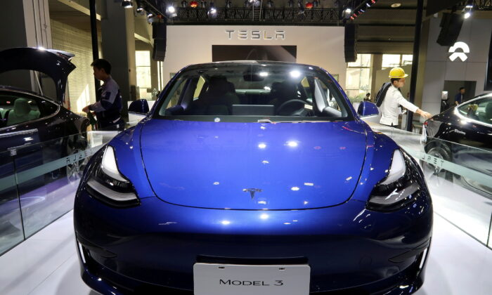 A China-made Tesla Model 3 electric vehicle is seen ahead of the Guangzhou auto show in Guangzhou, Guangdong province, China, on Nov. 21, 2019. (Yilei Sun/File Photo/Reuters)