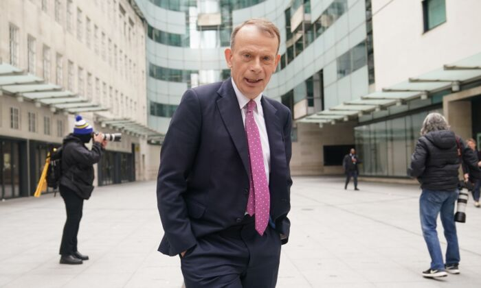 Andrew Marr outside BBC Broadcasting House in central London on May 16, 2021. (Yui Mok/PA)