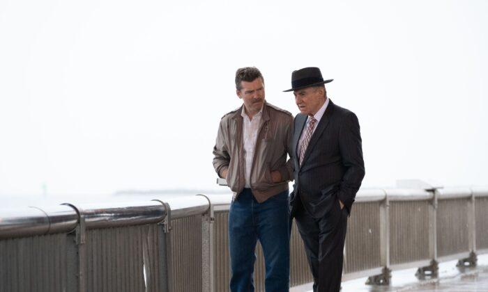 "Sam Worthington (L) and Harvey Keitel in ""Lansky"" (Vertical Entertainment)"