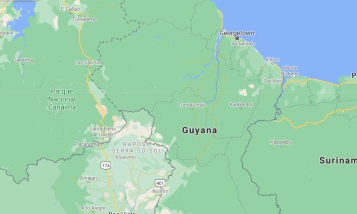 A map of Guyana. (Google maps)