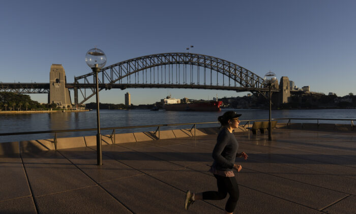 A jogger is seen on the first day of lockdown in Sydney, Australia, on June 27, 2021. (Brook Mitchell/Getty Images)