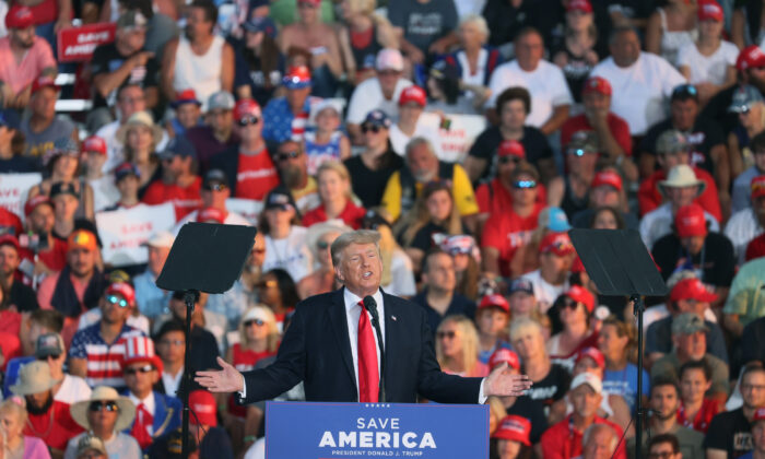 Former President Donald Trump speaks to supporters during a rally at the Lorain County Fairgrounds in Wellington, Ohio, on June 26, 2021. (Scott Olson/Getty Images)