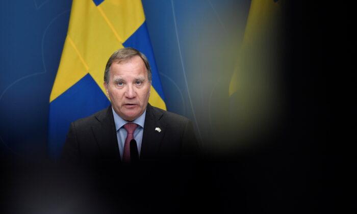 Sweden's Prime Minister Stefan Lofven holds a news conference at Rosenbad in Stockholm, Sweden, on June 28, 2021. (TT News Agency/Stina Stjernkvist via Reuters)