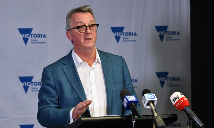 Victorian Minister for Health Martin Foley addresses the media during a press conference in Melbourne, Australia, on June 25, 2021. (AAP Image/James Ross
