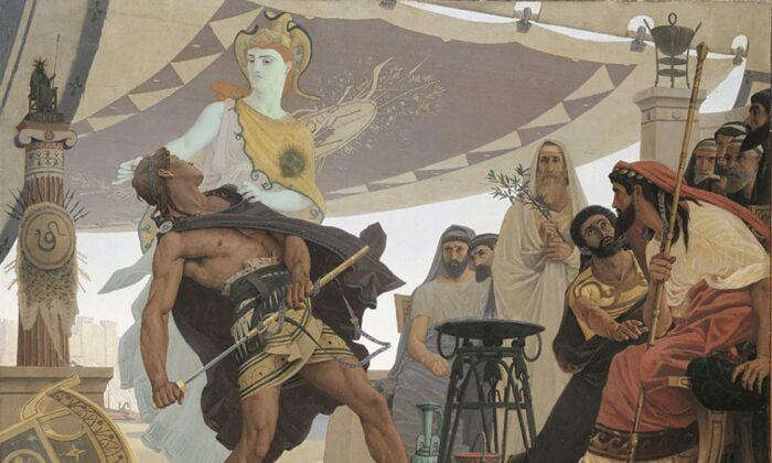 """""""The Wrath of Achilles,"""" 1881, by Louis Edouard Fournier. Oil on Canvas, 44.4 inches by 57 inches. Beaux-Arts de Paris, Paris. (Public Domain)"""