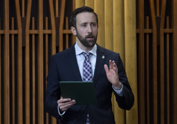 Independent MP Derek Sloan rises during question period in the House of Commons in Ottawa on Feb. 5, 2021. (The Canadian Press/Adrian Wyld)