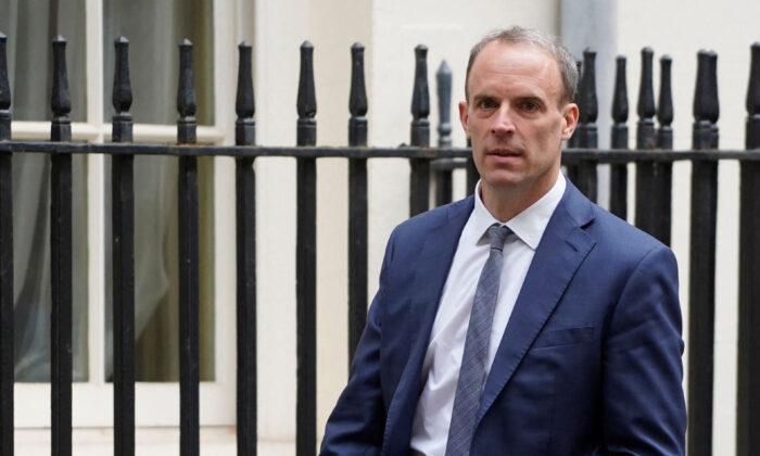 Britain's Foreign Secretary Dominic Raab walks in Downing Street in London on May 27, 2021. (Niklas Halle'n/AFP via Getty Images)