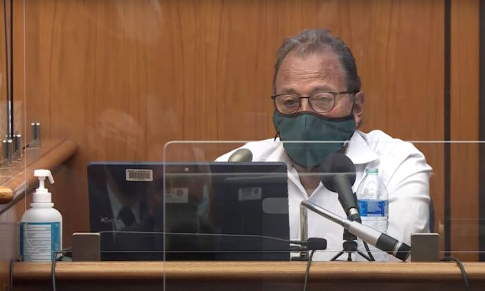 Douglas Durst, testifies at his brother's murder trial in Los Angeles Superior Court in Inglewood, Calif. on June 28, 2021. (Law&Crime Network via AP, Pool)