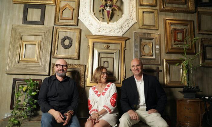 (L to R) Marcelo Bavaro, Sara Fattori, and Paul Fattori at Bavaro's frame-making workshop in Brooklyn, on June 10, 2021. (Samira Bouaou)