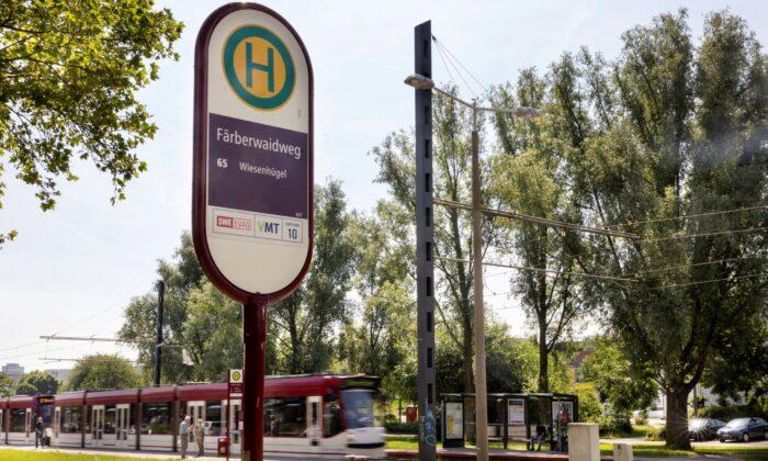 A train arrives at the Faerberwaidweg station in Erfurt, Germany, on June 28, 2021. (Michael Reichel/dpa via AP)