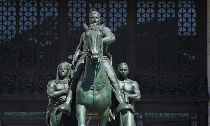 The Theodore Roosevelt Equestrian Statue is seen in front of The American Museum of Natural History on the Central Park West entrance in New York City on June 22,2020. (Timothy A. Clary/AFP via Getty Images)