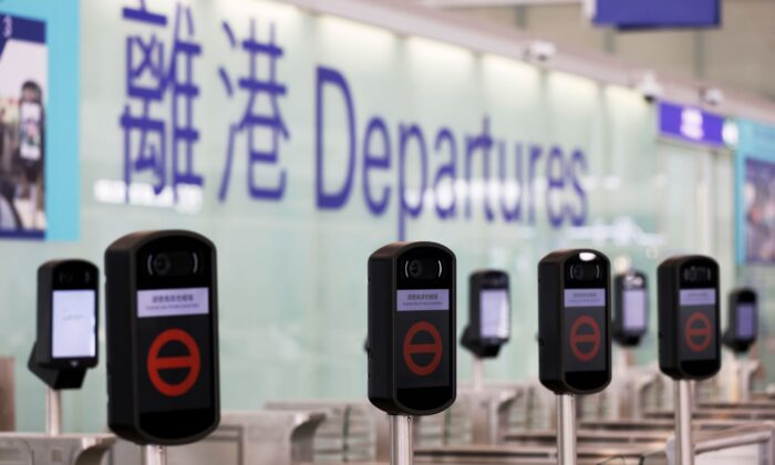 Closed counters are seen at the Hong Kong International Airport, following the COVID-19 outbreak, in Hong Kong on Feb. 2, 2021. (Tyrone Siu/Reuters)