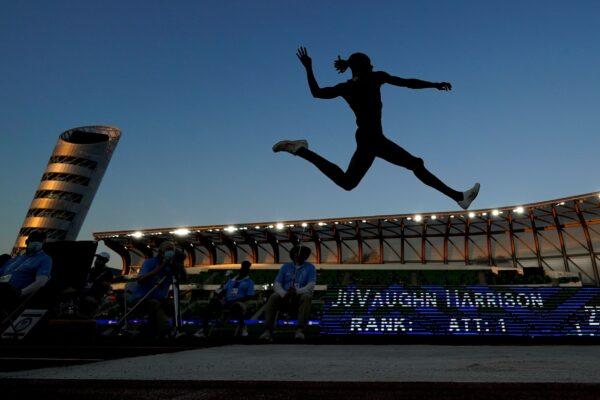 JuVaughn Harrison during long jump