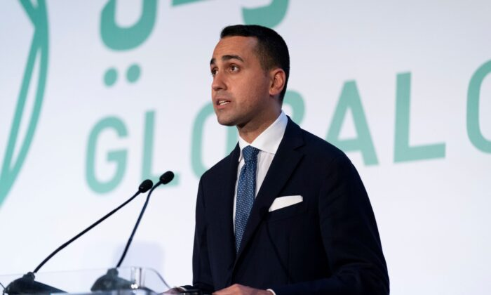 Italy's Foreign Minister Luigi Di Maio speaks during a news conference with U.S. Secretary of State Antony Blinken at Fiera Roma in Rome, Italy, on June 28, 2021. (Andrew Harnik/Pool via Reuters)