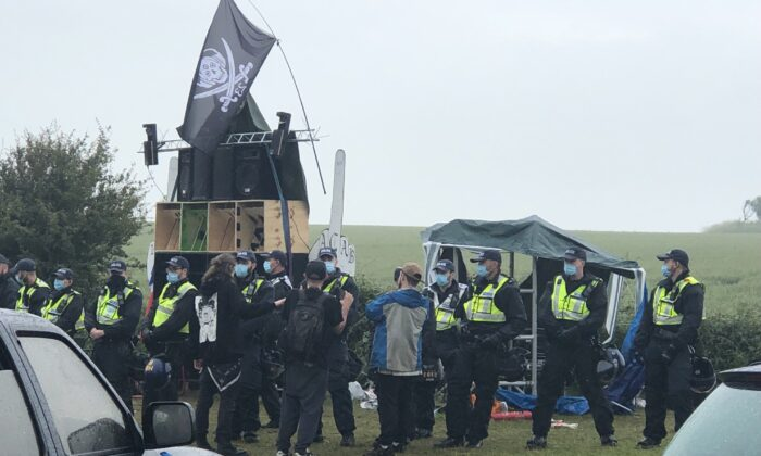 Police seized music equipment including sound systems and speakers at an illegal rave in Steyning, England, on June 27, 2021. (PA)
