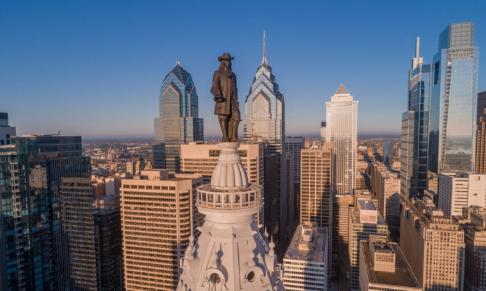 William Penn presides over Philadelphia. The City Hall was the tallest building in Philadelphia for 86 years, due to the respect afforded Penn: One should not build higher than Penn's hat. Times have changed. Although no longer the tallest in the city, the building now has an observation deck below the statue that offers visitors a chance to nearly join Penn and enjoy an expansive view of the city he founded, Philadelphia. (Photosounds/Shutterstock)