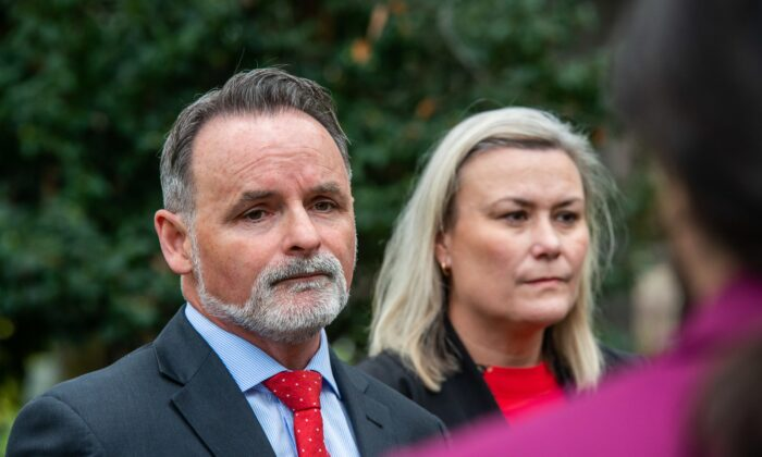 Newly elected Tasmanian Labor Leader David O'Byrne facing the media with Deputy Leader Anita Dow in Hobart, Australia on June 16, 2021. (AAP Image/Chris Crerar)