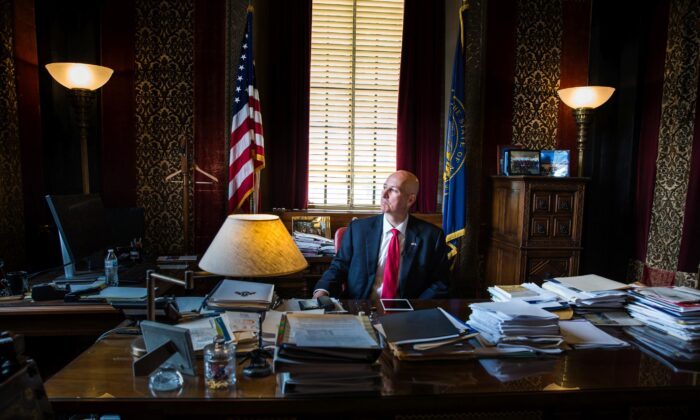 Nebraska Gov. Pete Ricketts in his office in the state's capitol in Lincoln, Neb., on June 24, 2021. (Petr Svab/The Epoch Times)