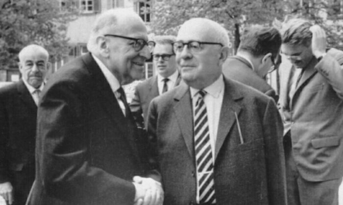 Max Horkheimer (front L), Theodor Adorno (front R), and Jürgen Habermas (back R)—some of the main German Marxist scholars from the Frankfurt School in the development of critical theory—are seen at the Max Weber-Soziologentag in Heidelberg, Germany, in April 1964. (Jeremy J. Shapiro/Wikimedia Commons)