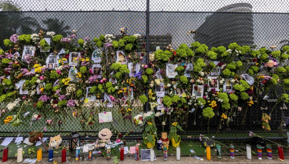 A makeshift memorial