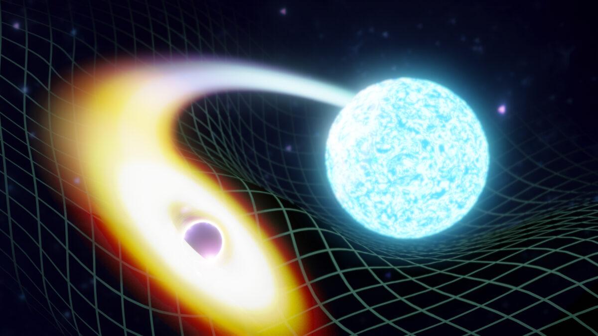 a black hole swallowing a neutron star