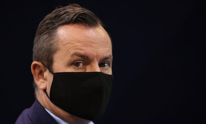 Western Australia Premier Mark McGowan during a press release at the COVID-19 Vaccination Clinic in Claremont, Perth, Australia on May 3, 2021. (Photo by Paul Kane/Getty Images)