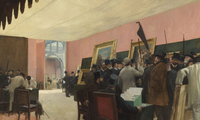 """""""A Session of the Painting Jury,"""" before 1885 by Henri Gervex. Oil on Canvas, 118.11 inches by 164.88 inches. Musée d'Orsay, France. (Public Domain)"""