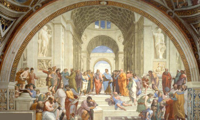 """The School of Athens,"" 1509-1511 by Raphael. Fresco, 16.4 ft by 25.2 ft. Stanze di Raffaello (Raphael Rooms), Apostolic Palace, Vatican City. (Public Domain)"