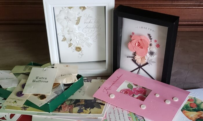 Greeting cards from over the years, full of memories, now being displayed in shadow boxes. (Anita L. Sherman)