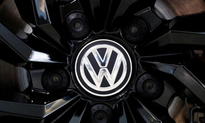 The logo of German carmaker Volkswagen is seen on a rim cap in a showroom of a Volkswagen car dealer in Brussels, Belgium, on July 9, 2020. (Francois Lenoir/Reuters)