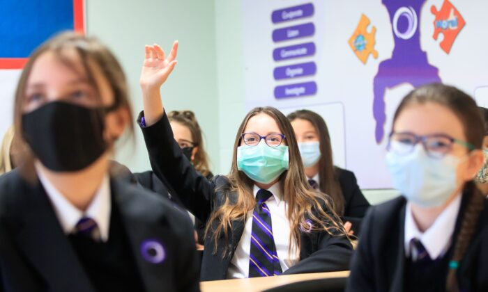 Students in a classroom of an England School, on March 8, 2021. (Danny Lawson/PA)