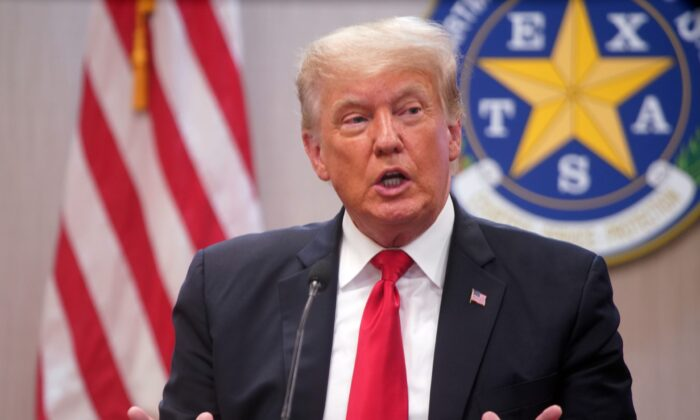 Former President Donald Trump speaks at a border security briefing at the Texas DPS Weslaco Regional Office in Weslaco, Texas, on June 30, 2021. (Joel Martinez/Pool via The Monitor)