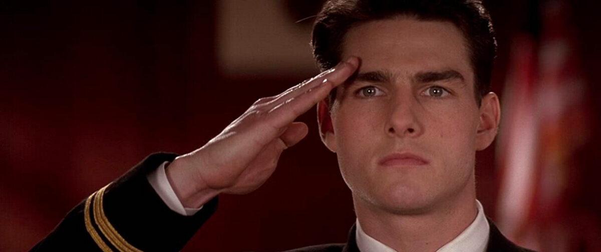 a navy lawyer salutes in A Few Good Men