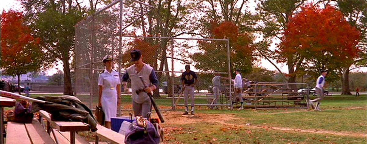 a baseball field and bleachers in A Few Good Men