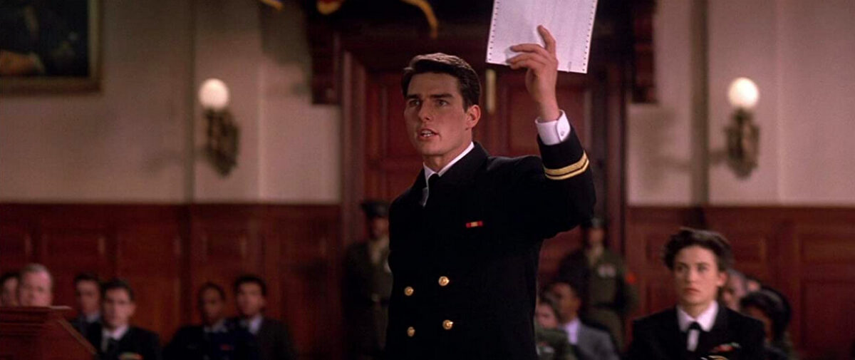 Navy lawyer in a courtroom in A Few Good Men