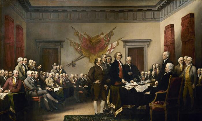 "John Trumbull ""Declaration of Independence"" circa. 1818. Oil on canvas. United States Capitol Rotunda, Washington, D.C."