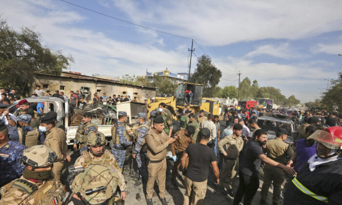 Members of the Iraqi army and security forces at the Sadr City suburb of Iraq's capital Baghdad in a file photo.  (Sabah Arar/AFP via Getty Images)