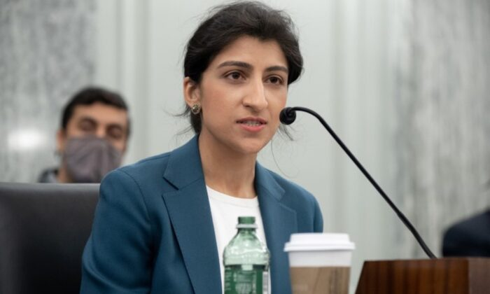 Lina Khan, then nominee for Chair of the Federal Trade Commission (FTC), speaks her confirmation hearing on Capitol Hill in Washington, on April 21, 2021. (Saul Loeb/Pool via Reuters)