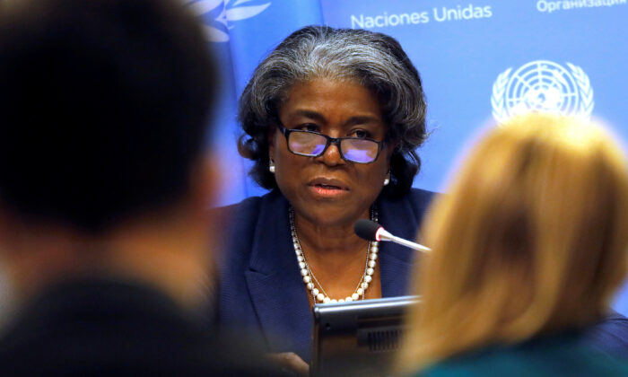 U.S. Ambassador to the United Nations, Linda Thomas-Greenfield holds a news conference to mark the start of the U.S. presidency of the U.N. Security Council for March, at U.N. headquarters in New York, on March 1, 2021. (Mike Segar/Reuters)