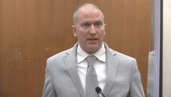 Minneapolis police Officer Derek Chauvin addresses at the court