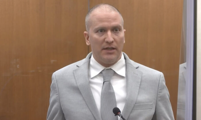 Former Minneapolis police Officer Derek Chauvin addresses the court as Hennepin County Judge PeterCahill presides over Chauvin's sentencing. Chauvin faces decades in prison for the May 2020 death of George Floyd. At the Hennepin County Courthouse in Minneapolis, Minn., on June 25, 2021. (Court TV via AP, Pool)