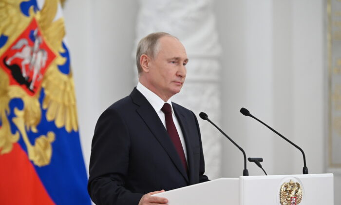 Russian President Vladimir Putin delivers a speech during a reception to honour officers and graduates of military and security agencies' academies at the Kremlin in Moscow on June 28, 2021. (Sputnik/Alexei Nikolsky/Kremlin via Reuters)